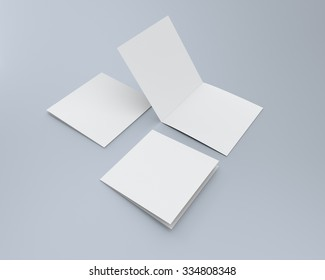 blank square two-leaf greeting cards isolated. render