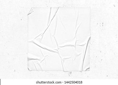 Blank square urban poster glued effect mockup. 3D rendering