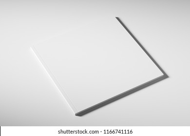 Blank square white closed book template on white background with soft shadows. Side view. Mock up. 3d rendering