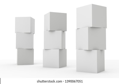 Blank Stacked Cubes. White Three Boxes Concept. 3D render