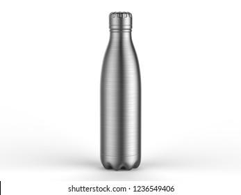 Blank stainless steel double wall workout bottle. 3d render illustration,
