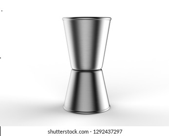 Blank Stainless Steel Jigger for branding. 3d render illustration.