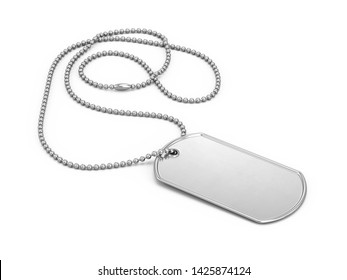 Blank stainless steel soldier dogtag isolated on white background. 3d rendering.