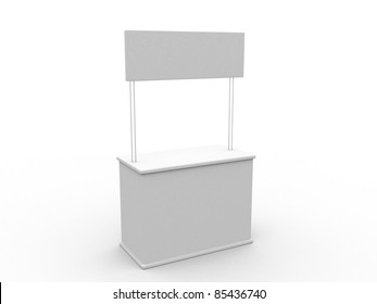 Blank stand. 3D rendered illustration.