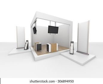 blank stand design in exhibition or trade fair with tv display