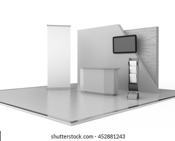 blank stand design in exhibition with tv display and roll-up, 3D rendering