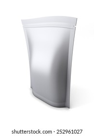 Blank stand up pouch foil or plastic packaging with zipper isolated on white background. 3d render image.