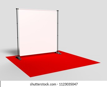 Blank Step and Repeat Telescoping Backdrop Banner. 3d