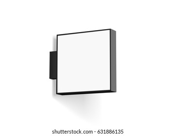 Blank store signage design mockup isolated, 3d rendering. Empty square light box mock up. Clear shop lightbox template. Street sign hanging, mounted on the wall. Signboard for logo presentation.