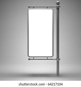 Blank street advertising billboard on gray background