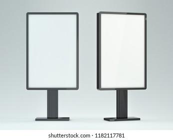 Blank street billboard on white background. Ddvertising display. 3D rendering