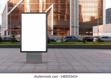 Blank street billboard poster stand mock up in city downtown. 3d illustration.