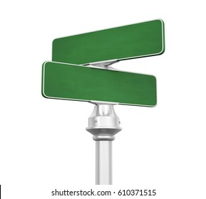 Blank Street Sign Isolated. 3D rendering