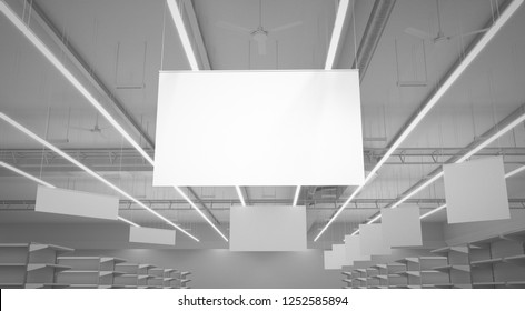 Blank Supemarket Banners. 3D render
