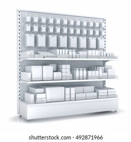 Blank supermarket products on shelves and pegboard. 3d illustration. Isolated on white