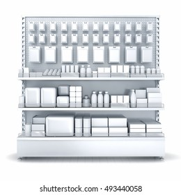 Blank supermarket products on shelves and pegboard. Front view. 3d illustration. Isolated on white