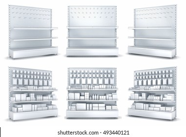 Blank supermarket products on shelves and pegboard. Empy shelves and pegboard. 3d illustration set. Isolated on white
