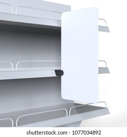 Blank Supermarket Shelf Banner Display for design presentation. 3d render illustration.