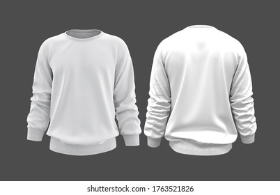 Blank sweatshirt mock up template, front, and back view, isolated on gray, 3d rendering, 3d illustration