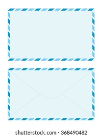 Blank Sweet Light Blue Airmail Envelope Front and Back with Blue Striped Border Isolated on White Background Illustration
