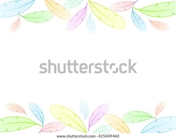 Blank Sweet Pastel Rainbow Feather Border Stock Illustration 425049460