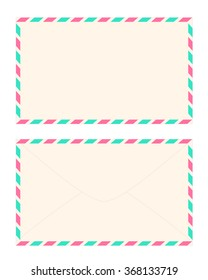 Blank Sweet Pink Airmail Envelope Front and Back with Pink and Turquoise Striped Border Isolated on White Background Illustration
