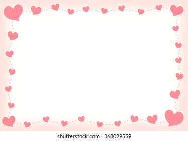 Blank Sweet Pink Heart and Dashed Line Border with Gradient Sweet Pink Frame Illustration