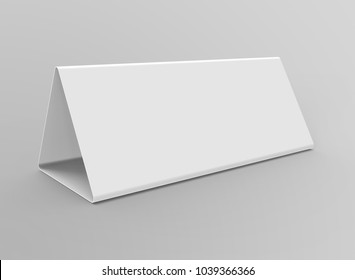 Blank table tent, 3d render table card mockup for design uses, triangular paper card for business meeting or restaurant menu