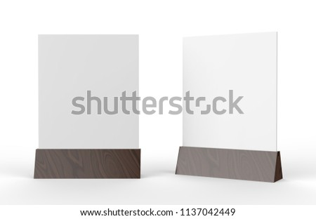 Blank Table Tent Mock Up Template On Isolated White Background Stand For Acrylic Card