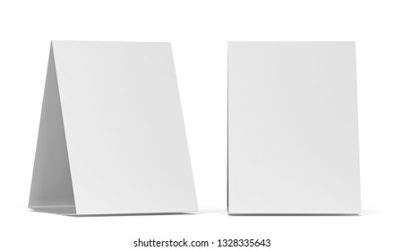 Blank table tent mockup. 3d illustration isolated on white background