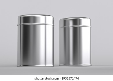 Blank tall tin box food bulk products container for packaging design mock up. 3d render