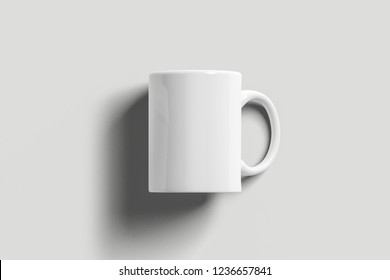 Blank tea cup or coffee mug isolated on soft gray background. Responsive design mockup. Clipping path.3D rendering