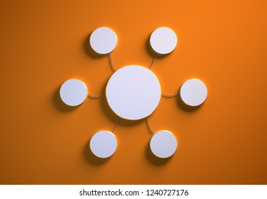 Blank template of disc-shaped infographic elements, six little discs tied to main one with phisically accurate ropes, 3d render illustration, orange backdrop