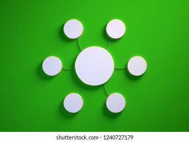 Blank template of disc-shaped infographic elements, six little discs tied to main one with phisically accurate ropes, 3d render illustration, green backdrop