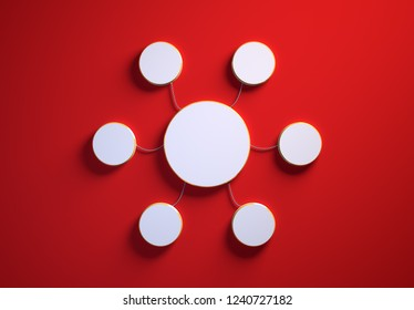Blank template of disc-shaped infographic elements, six little discs tied to main one with phisically accurate ropes, 3d render illustration, red backdrop