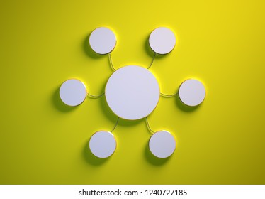 Blank template of disc-shaped infographic elements, six little discs tied to main one with phisically accurate ropes, 3d render illustration, yellow backdrop