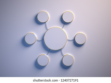 Blank template of disc-shaped infographic elements, six little discs tied to main one with phisically accurate ropes, 3d render illustration, white backdrop