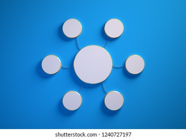 Blank template of disc-shaped infographic elements, six little discs tied to main one with phisically accurate ropes, 3d render illustration, blue backdrop