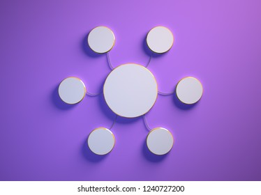 Blank template of disc-shaped infographic elements, six little discs tied to main one with phisically accurate ropes, 3d render illustration, purple backdrop