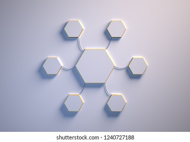Blank template of hexagon-shaped infographic elements, six little hexagons tied to main one with phisically accurate ropes, 3d render illustration, white backdrop