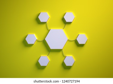Blank template of hexagon-shaped infographic elements, six little hexagons tied to main one with phisically accurate ropes, 3d render illustration, yellow backdrop