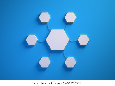 Blank template of hexagon-shaped infographic elements, six little hexagons tied to main one with phisically accurate ropes, 3d render illustration, blue backdrop