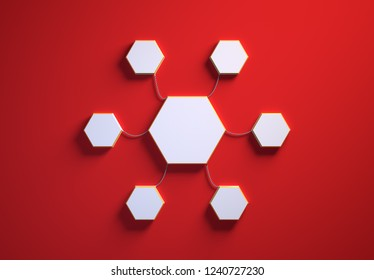 Blank template of hexagon-shaped infographic elements, six little hexagons tied to main one with phisically accurate ropes, 3d render illustration, red backdrop