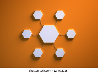 Blank template of hexagon-shaped infographic elements, six little hexagons tied to main one with phisically accurate ropes, 3d render illustration, orange backdrop