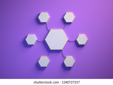 Blank template of hexagon-shaped infographic elements, six little hexagons tied to main one with phisically accurate ropes, 3d render illustration, purple backdrop