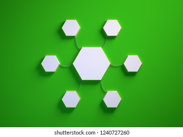 Blank template of hexagon-shaped infographic elements, six little hexagons tied to main one with phisically accurate ropes, 3d render illustration, green backdrop