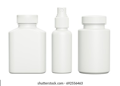 Blank template medical packaging for pill and liquid medication. Spray bottle, containers for drugs, medicine jars with cap, 3D rendering