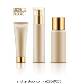 Blank template of white packages with gold caps: tube with hand cream, container for liquid lotion, bottle with dispenser pump. Collection of empty realistic mockup for cosmetic products.