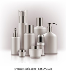 Blank templates of empty white and silver package for cosmetic products tube and jar for cream, bottle for shampoo, soap with pump, foam, deodorant, hair spray. Realistic mockup of plastic containers