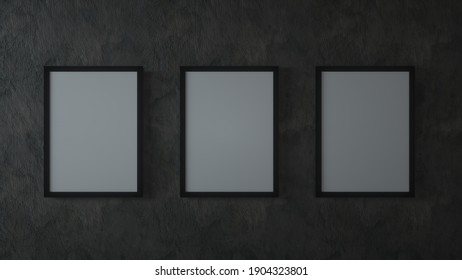 Blank three vertical posters on the black walll. 3d illustration.